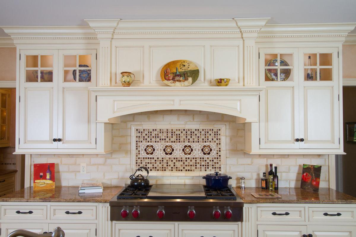 Custom Wood Hood Over 48 Range Top With Custome Tile